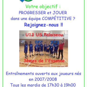 U13: Entrainements ouverts